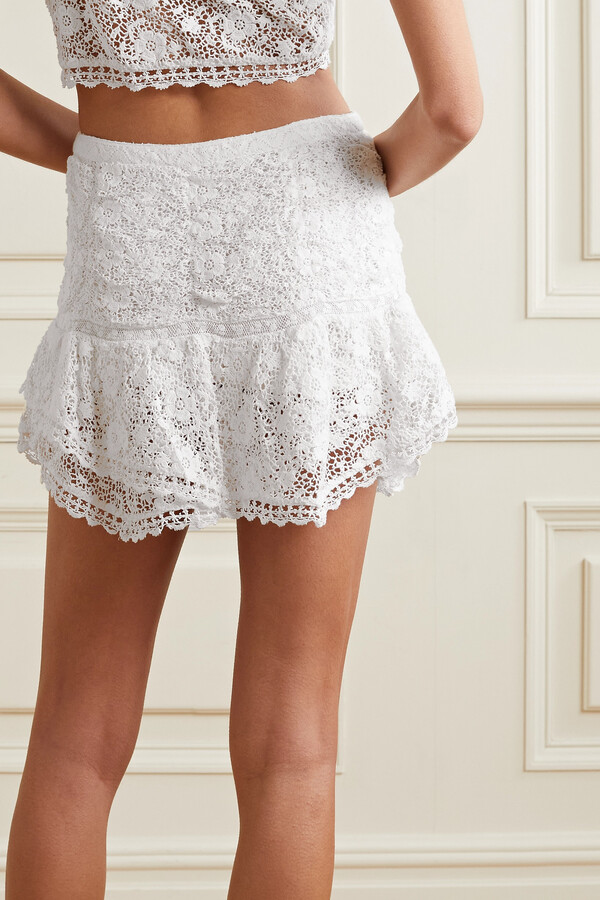 Thumbnail for your product : LoveShackFancy Moe Lace-trimmed Crocheted Cotton Mini Skirt - White