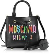 Moschino Black Leather Mini Satchel Bag w/Detachable Shoulder Strap
