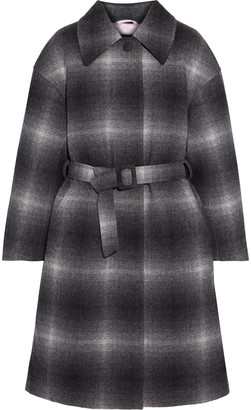 Ienki Ienki Mac Belted Checked Wool-blend Felt Down Coat