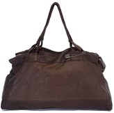 Sissi Rossi Brown Pebbled Leather Duffle Bag