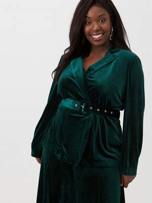 V By Very Curve Velour Belted Blazer - Forest Green