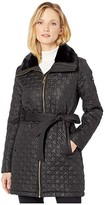 Via Spiga Houndstooth Stitched Quilt with Faux Fur Collar (Black) Women's Clothing