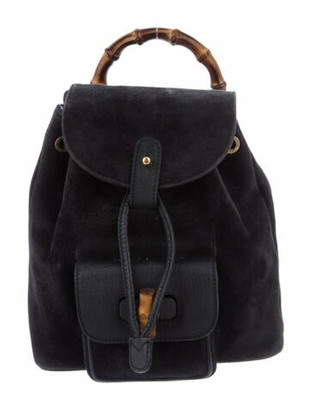 Gucci Vintage Suede Mini Bamboo Backpack Navy