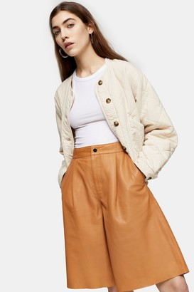 Topshop Camel Leather Culottes