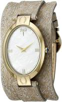 Jivago Women's JV1836 Good Luck Gold-Tone & Mother-of-Pearl/Light Brown Leather Watch