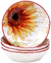 Certified International Paris Sunflower Set of 4 Soup Bowls