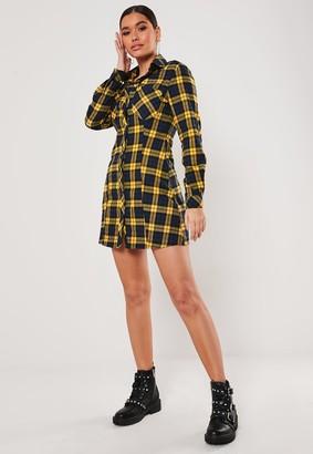 Missguided Mustard Check A Line Shirt Dress