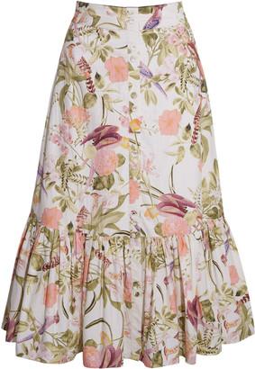 Cara Cara Georgica Floral Poplin Midi Skirt
