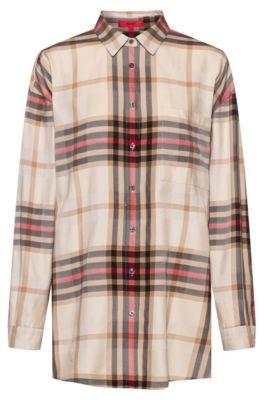 HUGO BOSS Relaxed Fit Checked Blouse With Side Slits - Light Brown