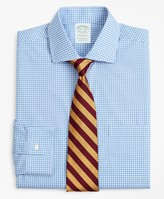 Brooks Brothers Stretch Milano Slim-Fit Dress Shirt, Non-Iron Poplin English Collar Gingham