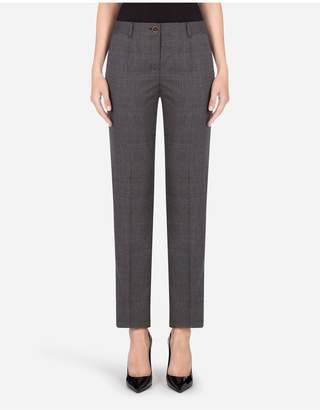 Dolce & Gabbana Low-Rise Glen Plaid Pants