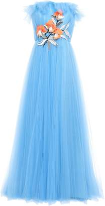 Carolina Herrera Strapless Ruffle-trimmed Gathered Embellished Tulle Gown