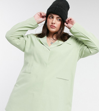 Collusion Plus exclusive blazer dress in sage green