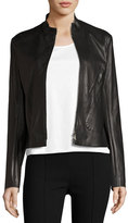 The Row Tripton Leather Zip-Front Jacket, Black
