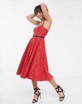 Asos Design DESIGN geo lace midi prom dress with grosgrain straps