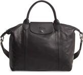Longchamp Medium Le Pliage Cuir Leather Top Handle Tote