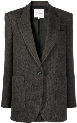 BA&SH Herringbone Single-Breasted Blazer
