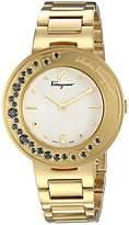 Salvatore Ferragamo Women's 'Gancino Sparkling' Quartz Stainless Steel Casual Watch, Color:Gold-Toned (Model: FF5960015)