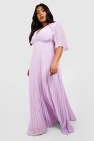 Thumbnail for your product : boohoo Plus Bridesmaid Pleated Cape Maxi Dress