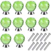 Mosong 10pcs 30mm Green Glass Cabinet Knob Drawer Pull Handle Kitchen Door Wardrobe Hardware Used for Cabinet