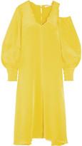 Tibi Oversized Cutout Silk Crepe De Chine Midi Dress - Bright yellow