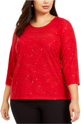 JM Collection Plus Size Sequined Textured Top