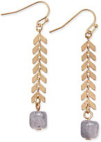 INC International Concepts Gray Beaded Leaf Linear Earring, Only at Macy's