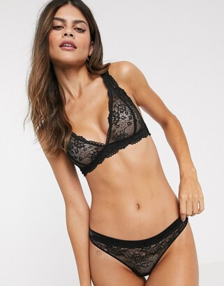 Cotton On Cotton:On Lottie and satin lace g-string brief in black