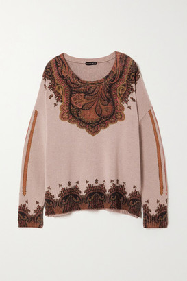 Etro Wool And Cashmere-blend Jacquard Sweater - Beige