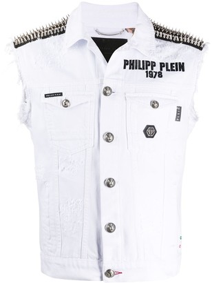 Philipp Plein Denim Sleeveless Jacket