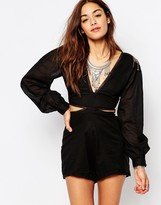 One Teaspoon Embellished Wild Cat Cut Out Playsuit