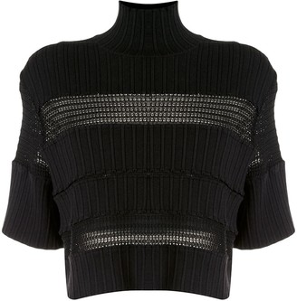 Proenza Schouler Lace-Insert Knitted Top