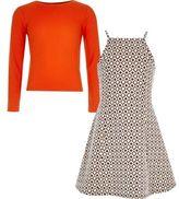 River Island Girls grey jacquard dress and T-shirt set