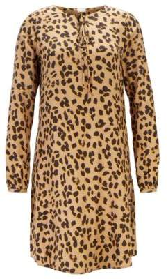 BOSS Long-sleeved tunic dress in printed twill with silk