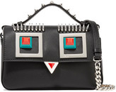 Fendi Double Baguette Micro Embellished Leather Shoulder Bag - Black