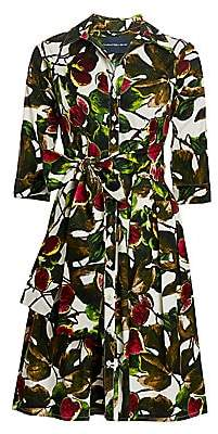 Samantha Sung Women's Audrey Fig-Print Stretch-Cotton Shirtdress