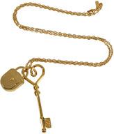 Salvatore Ferragamo Gold Key and Lock Charm Necklace