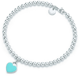 Tiffany & Co. Return to TiffanyTM mini heart tag in sterling silver on a bead bracelet
