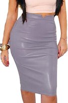 Prograce Womens Slim Fit Bandage Bodycon Stretchy Midi Length PU Winter Skirt Grey L