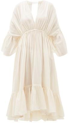 Loup Charmant Sunrise Open-back Organic-cotton Dress - Womens - Ivory