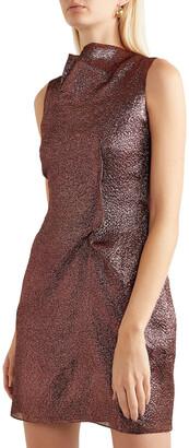 Roland Mouret Gathered Metallic Organza Mini Dress