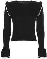 Topshop Women's Tipped Ruffle Crop Sweater