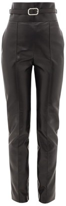 Alexandre Vauthier Crystal-buckle High-rise Leather Trousers - Black