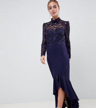 Asos City Goddess Petite Long Sleeve High Neck Fishtail Maxi Dress With Lace Detail-Navy
