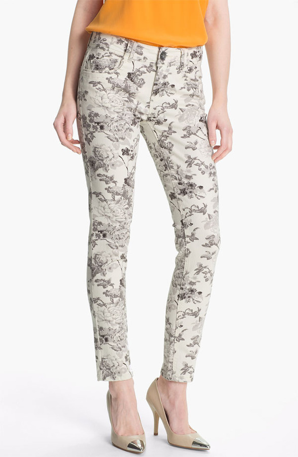 Nordstrom Wit & Wisdom Floral Print Skinny Jeans (Grey Exclusive) Womens Grey Size 12 12