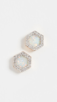 Adina 14k Gold Opal & Diamond Hexagon Post Earrings