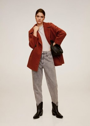MANGO Structured wool coat burnt orange - L - Women