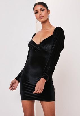 Missguided Black Velvet Milkmaid Bodycon Mini Dress