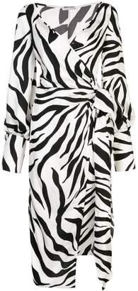 Oscar de la Renta Zebra Print Wrap Dress