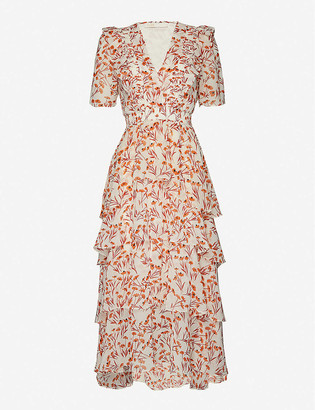 Maje Romina floral-pattern asymmetric-hem woven midi dress